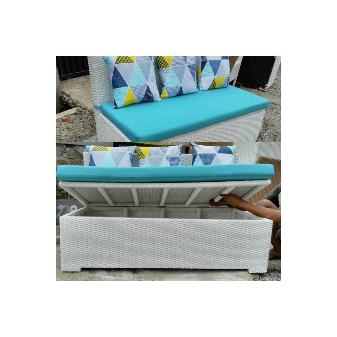 Sofa multi storage 140 x 70 rotan sintetis Shabby