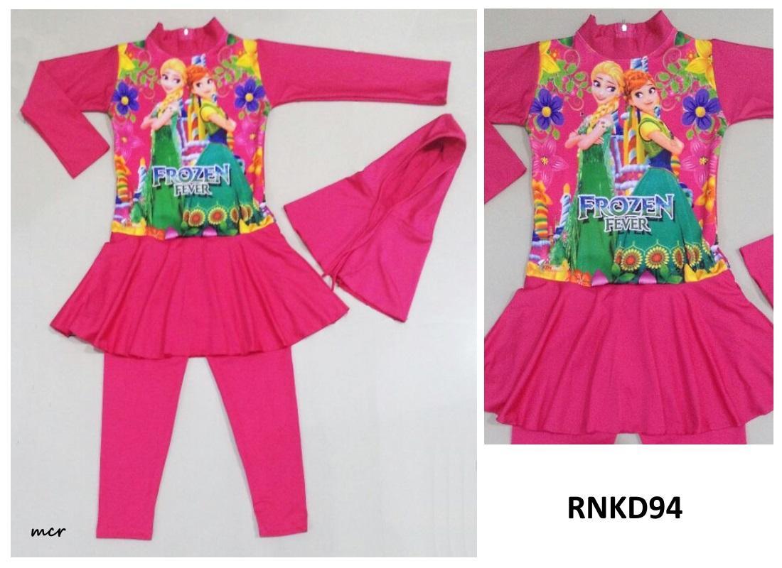 RNKD94 - Baju Renang Anak Perempuan Muslim Frozen Fever Pink