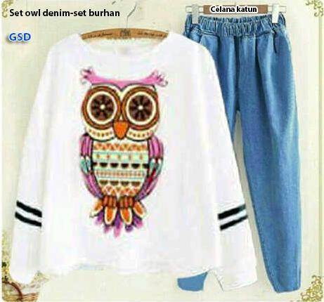 Setelan owl / celana kulot / baju wanita / celana kodok / atasan /  baju tanah abang/ baju murah /