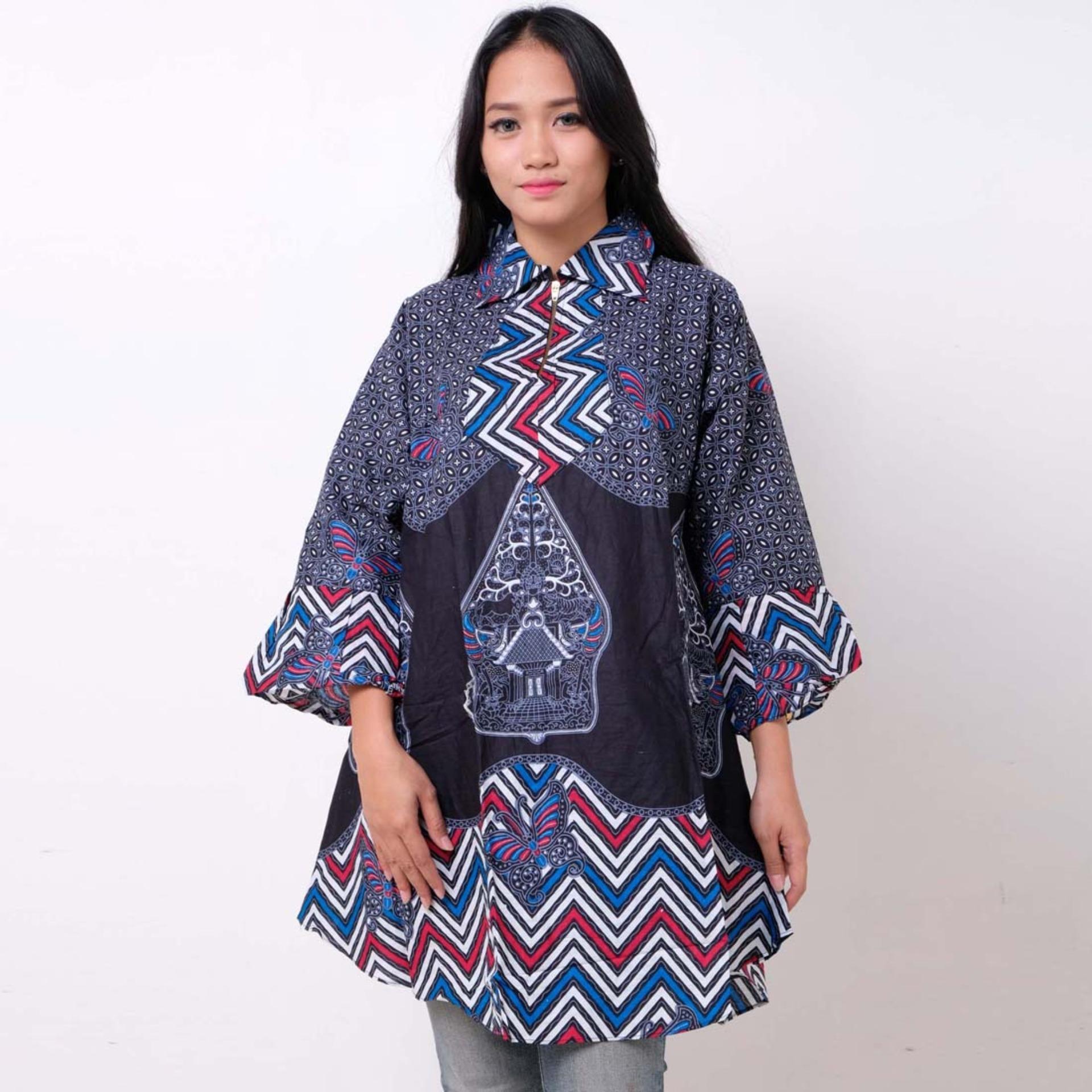 Buy Sell Cheapest Tunik Kerah Catra Best Quality Product Deals Batik Distro Ba9361 Blus Wanita Biru