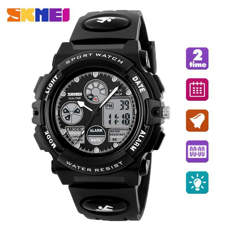 SKMEI  Watch 1163 Kids Olahraga Jam Tangan Anak-anak Pria untuk Anak Laki-laki Militer Tahan Air Dual Layar Jam Tangan LED Tahan Air Watch