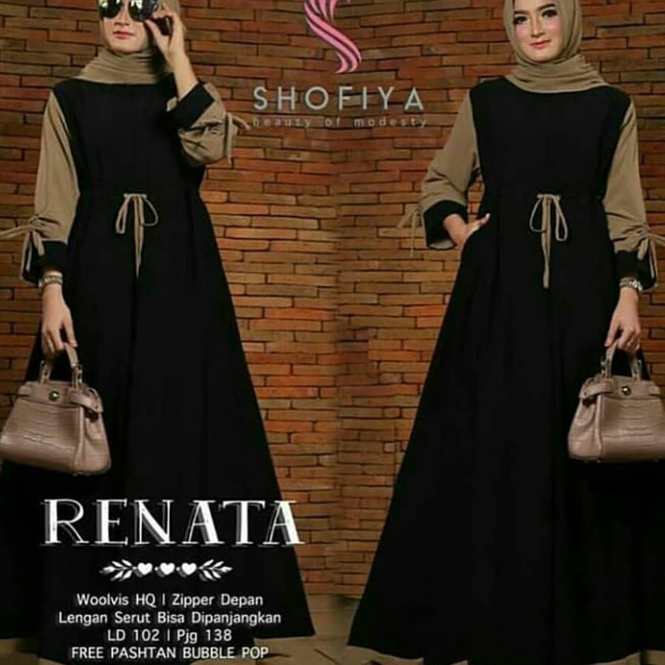 OEM Baju Original Renata Dress Balotely Gamis Panjang Wanita Muslim Pakaian Cewek Gaun Muslimah Hijab Casual Simple