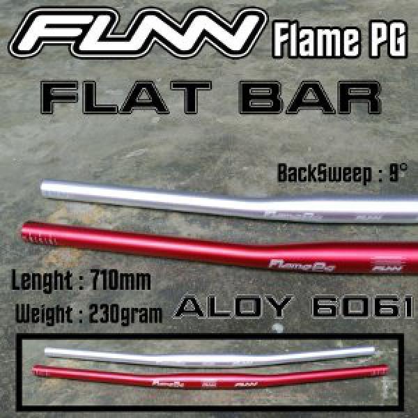HandleBar Funn Flame PG FlatBar Red Silver Anodized - Merah Abu 31.8mm 710mm Aloy 6061 Ringan Rata