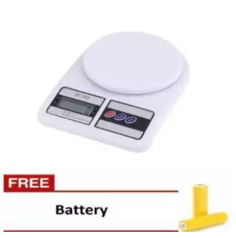Aiueo Timbangan Digital Dapur 10 kg Putih gratis battery