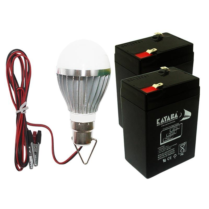 EELIC AKI-6VLDC7W MIX AKI KERING 6 VOLT 4,5 AH 2 PCS UNTUK PENYUPLAI ARUS LISTRIK DAN LAMPU LED 7 WATT DC12V LAMPU 7W