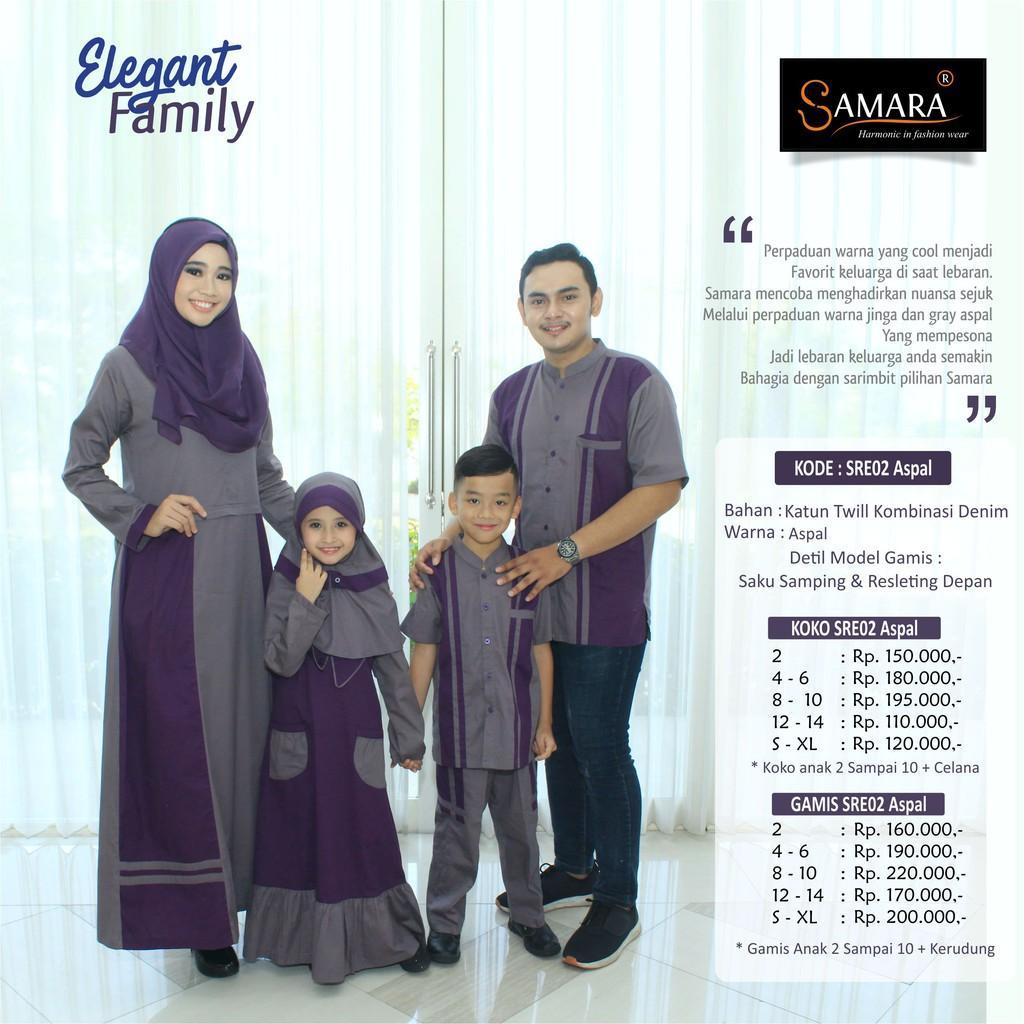 Baju Couple Keluarga Busana Muslim Sarimbit Gamis Syari Koko Lebaran Pria Anak Wanita /SAMARA SRE02 (Gamis Anak 2 tahun)