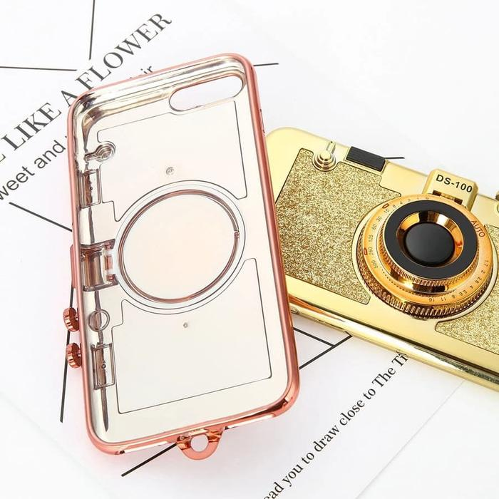 Case iPhone 6 Plus Korean 3D Retro Camera Soft Stand Holder Mirror Case Back Case Back Cover Flip Case Flip Cover Casing Hp Terbaru 2018