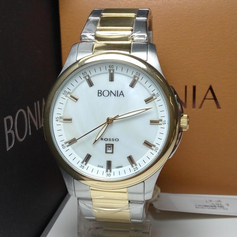 Bonia Jam Tangan Pria Hitam Stainless Steel Bpt188 1732c Original Bpt191 1332c Silver Bnb10096 1152 Rosso Gold Dial White