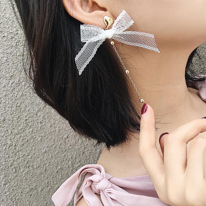 Anting Korea Fringed Chain Ribbon Bow Earrings JN1043