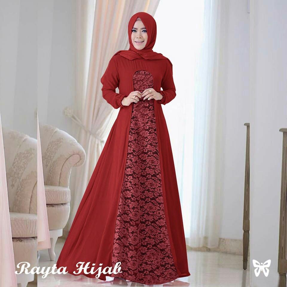 [Baju Model Baru] Maxi Dress Lengan Panjang Raita / Gamis Syari / Gaun Pesta Muslimah / Baju Brukat Muslim Wanita Syar'i Syari / Hijab / Jilbab Muslim Cantik Lebaran S3 (ytara) - Maroon
