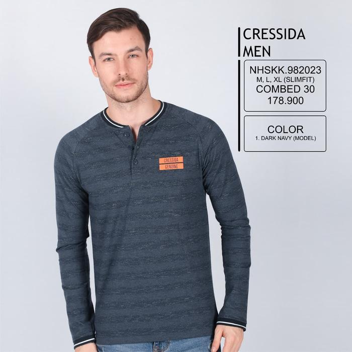 Best Top Seller!! Kaos Henley Panjang Cressida Men - ready stock