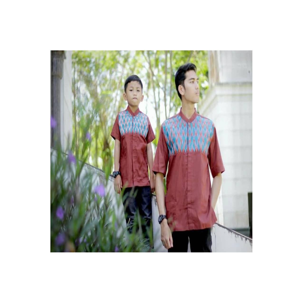 Couple Koko Ayah Anak Alharamain Warna Merah Bata Type B05