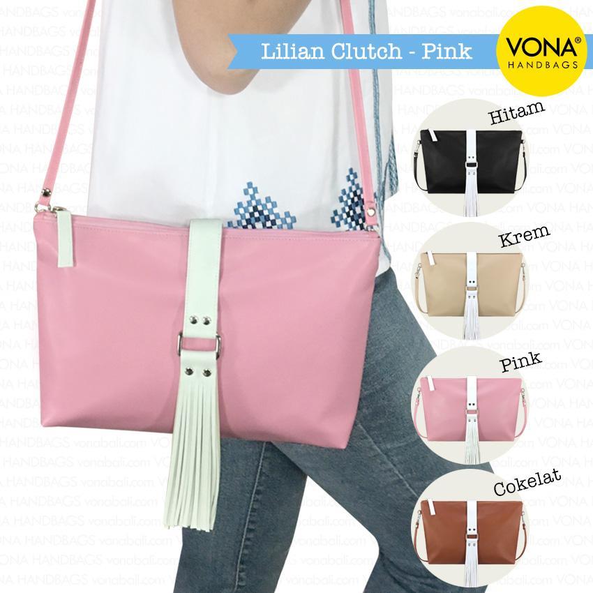 VONA Lilian (Pink) - Best Seller Sling Clutch Bag Pouch Tassel Rumbai Tas Selempang Dompet Wanita Kulit Sintetis Tote Handbag New Arrival Korean Style Fashion Trendy Slempang