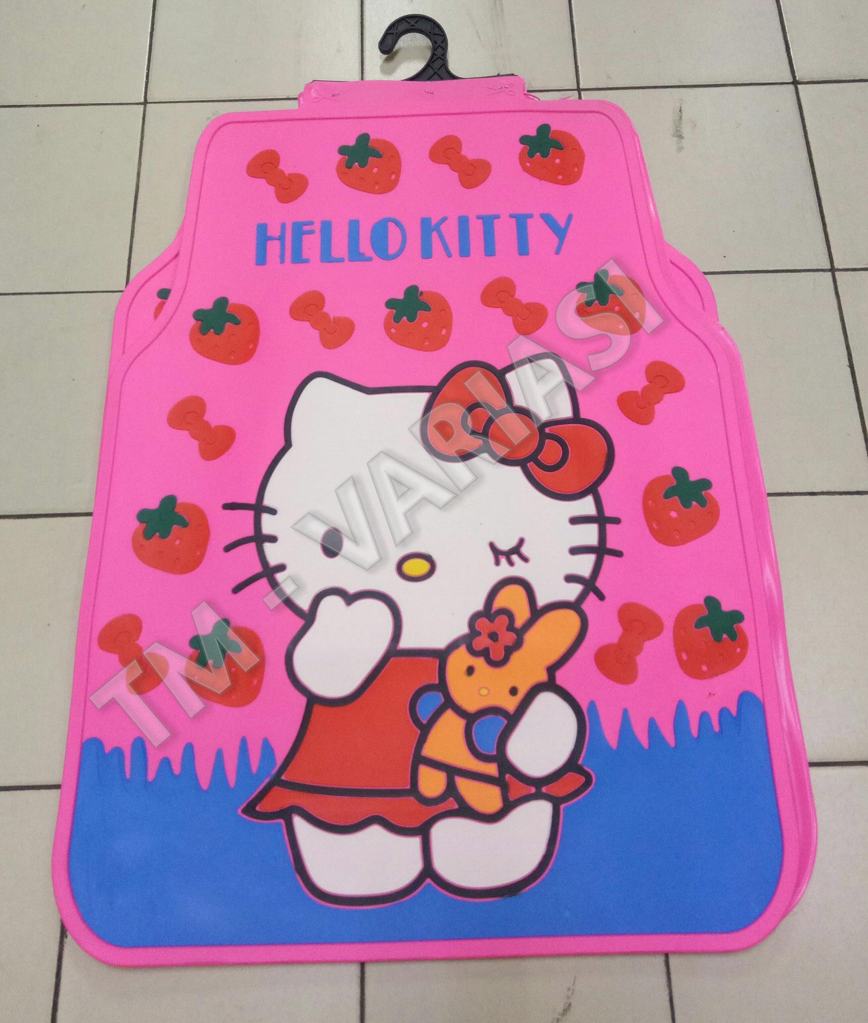 Karpet Mobil Universal Motif Hello Kitty Strawberry Merah Dasar Pink