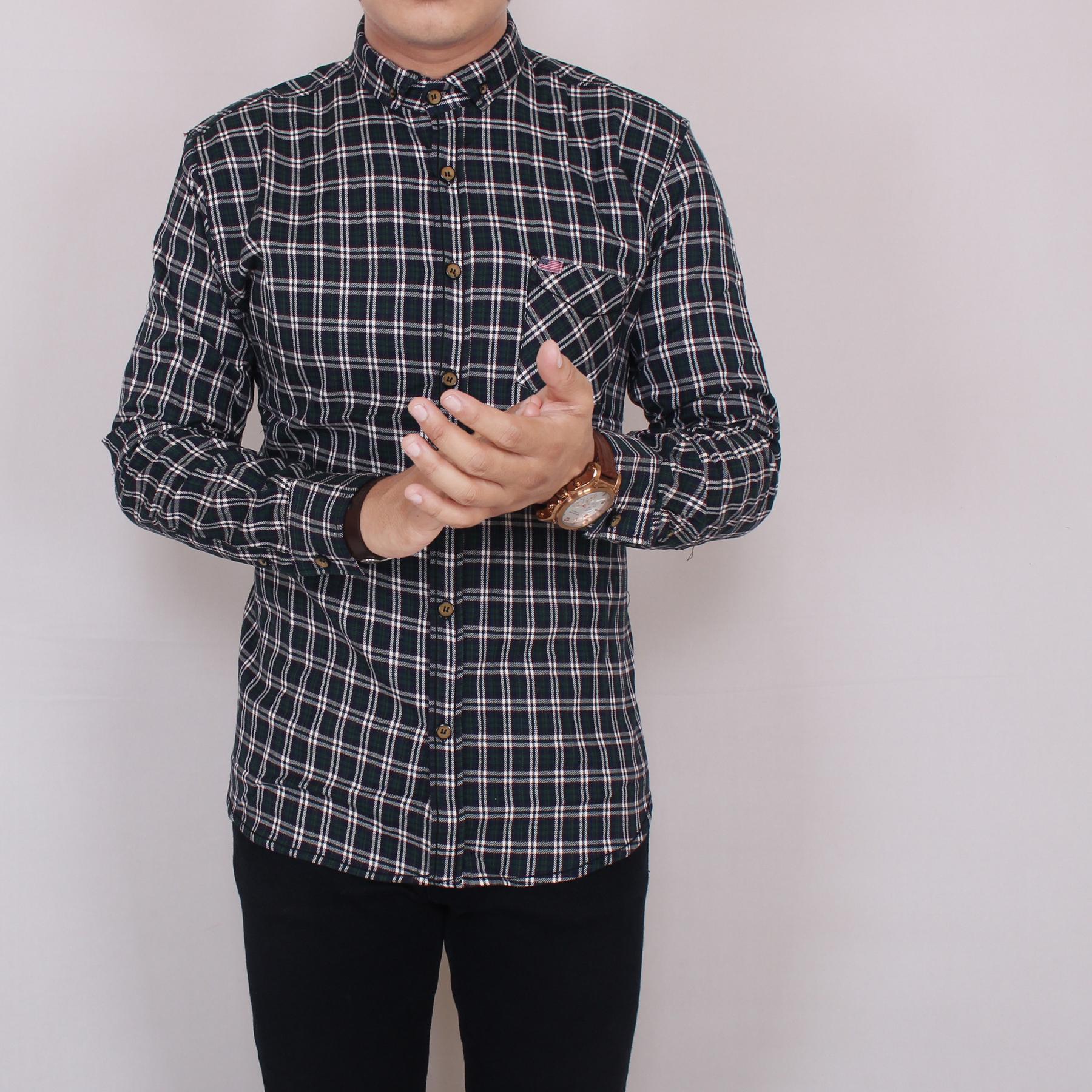 Zoeystore 5797 Kemeja Flanel Pria Lengan Pendek Exclusive Baju Kemeja Flannel Cowok Kerja Kantoran Formal Kemeja Distro Putih Kotak Hijau