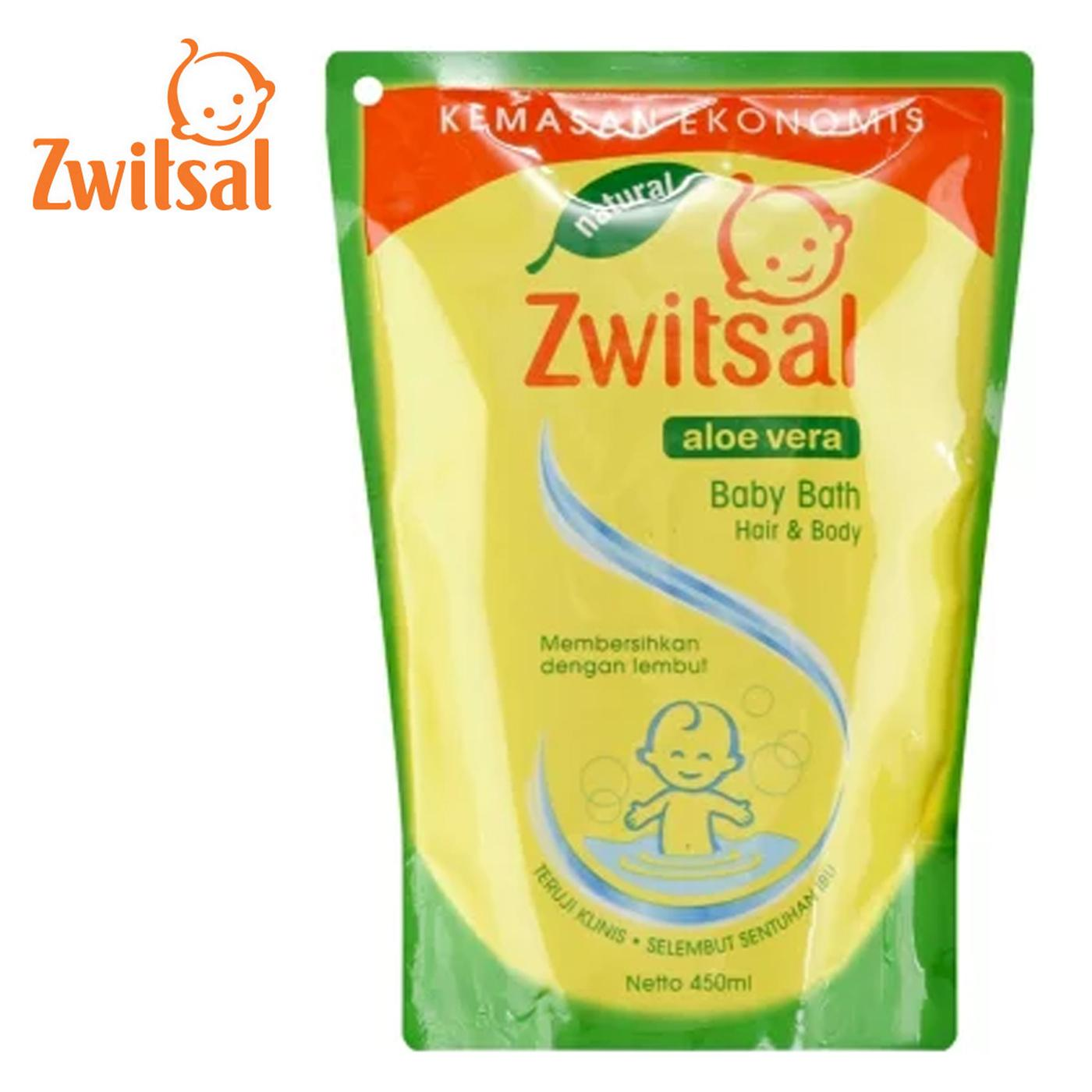 Zwitsal Natural Baby Bath 2in1 Hair & Body Pouch 450ml