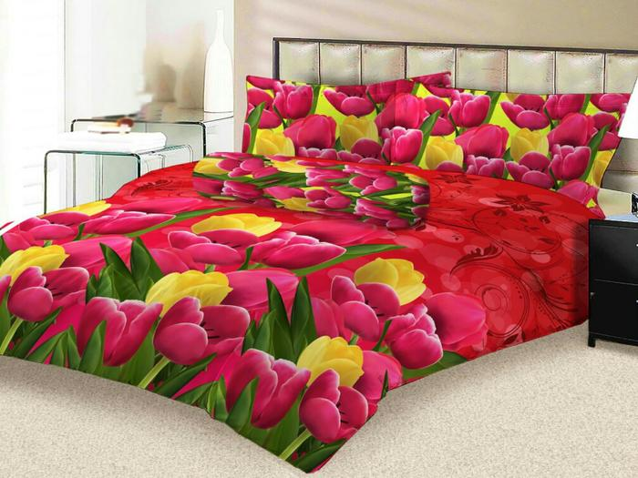 Sprei Lady Rose Eva No.2 Queen 160 Seprai Bunga Tulip Red Rose Yellow By Nemo Store