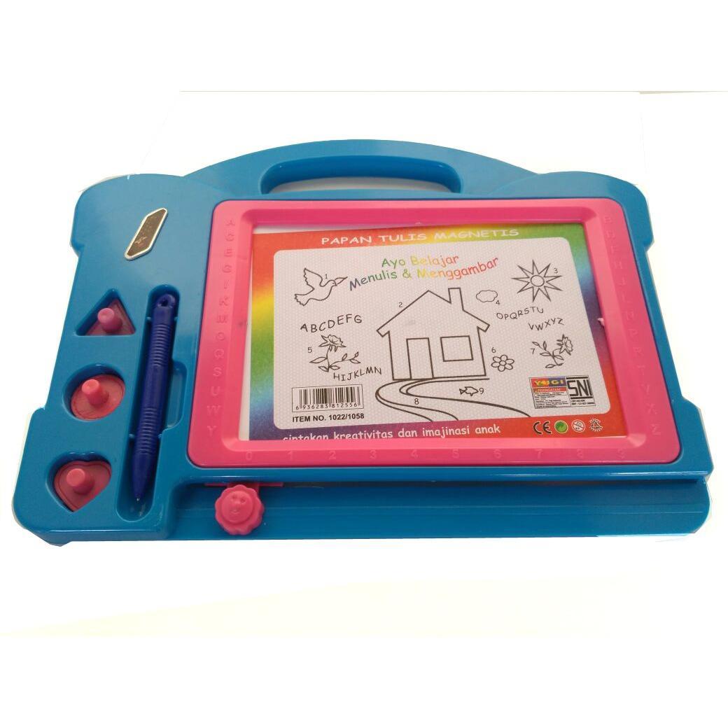 Mainan Papan tulis magnet / white board (merah/kuning/biru/hijau/orange)