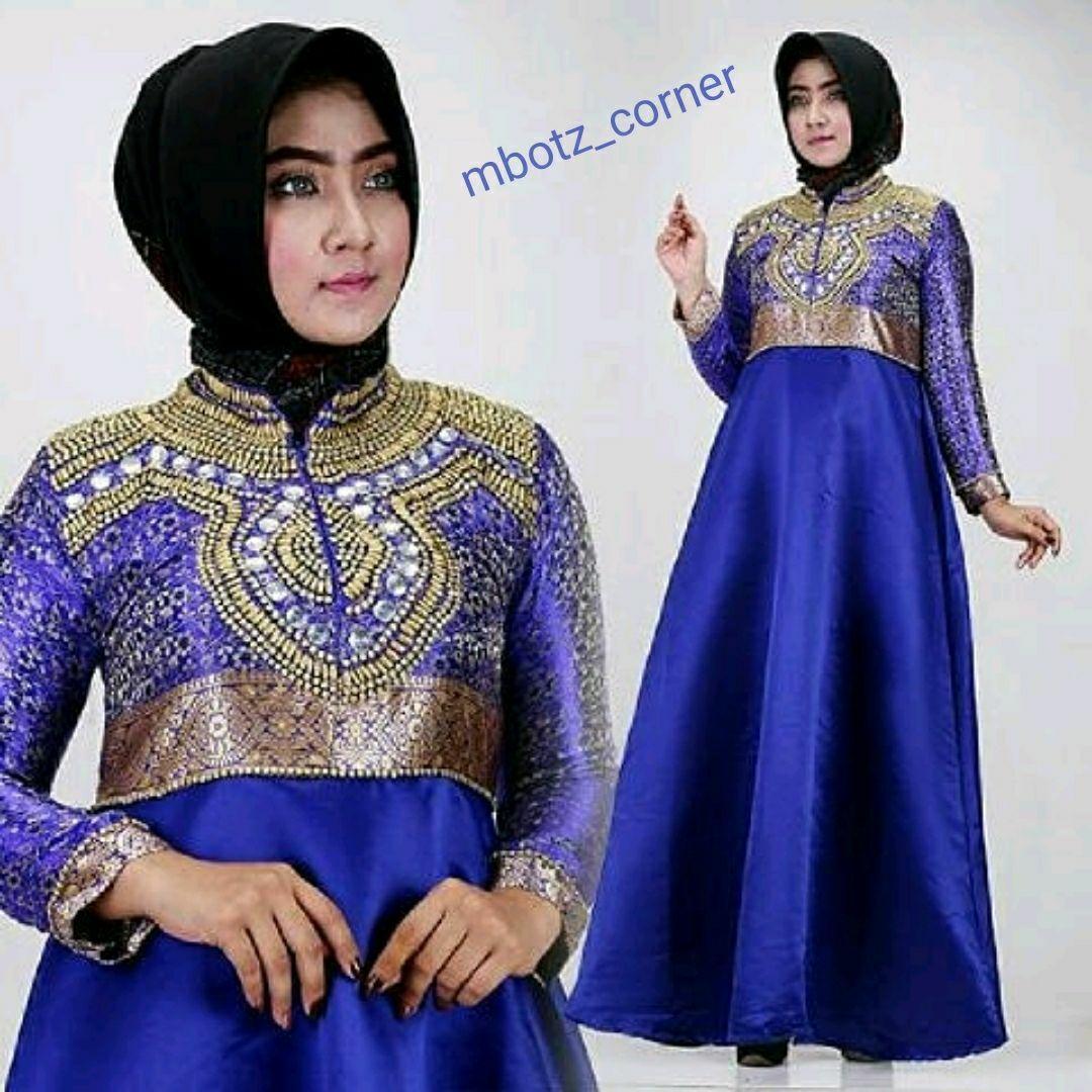 Baju muslim gamis Dian songket Velvet biru - mbotz_corner