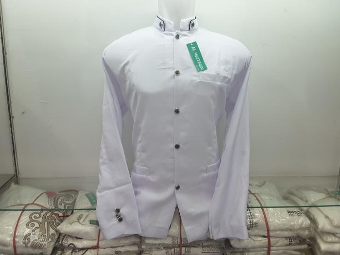 Jas Koko Jasko Putih Bersih Polos Baju Koko Al Muttaqin Collection / Baju Koko Lengan Panjang Terbaru / Kemeja Koko Pria Lebaran Murah