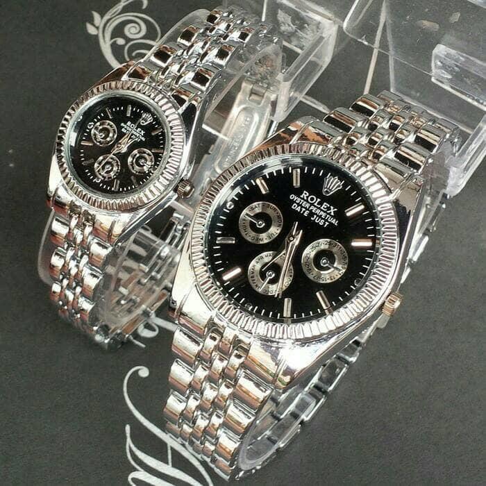 LARIS Jam tangan couple rolex / jtr 222 silver plat hitam