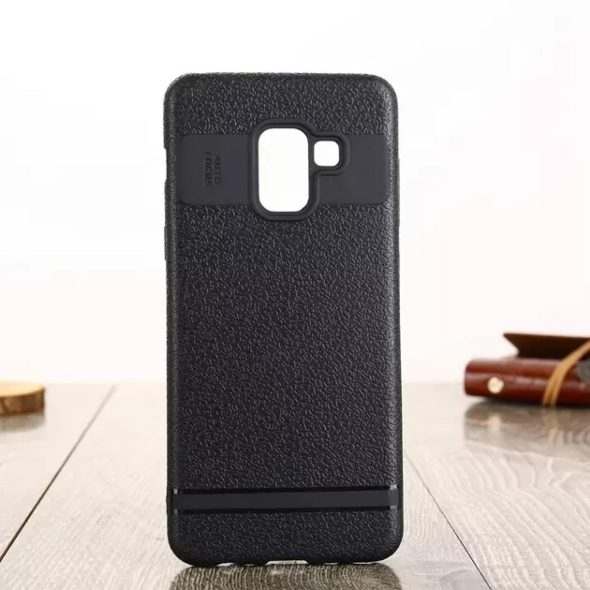 LOLLYPOP Auto Focus Samsung Galaxy J4 2018 Black Hitam TPU Flexible SOFTCASE Leather Premium Back Cover