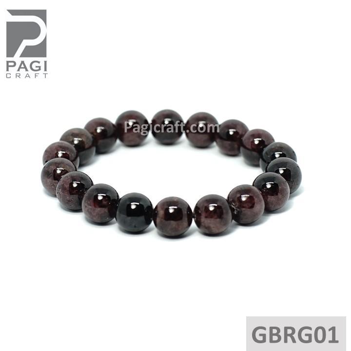 Gelang Batu Akik Red Garnet Biduri Delima 12mm