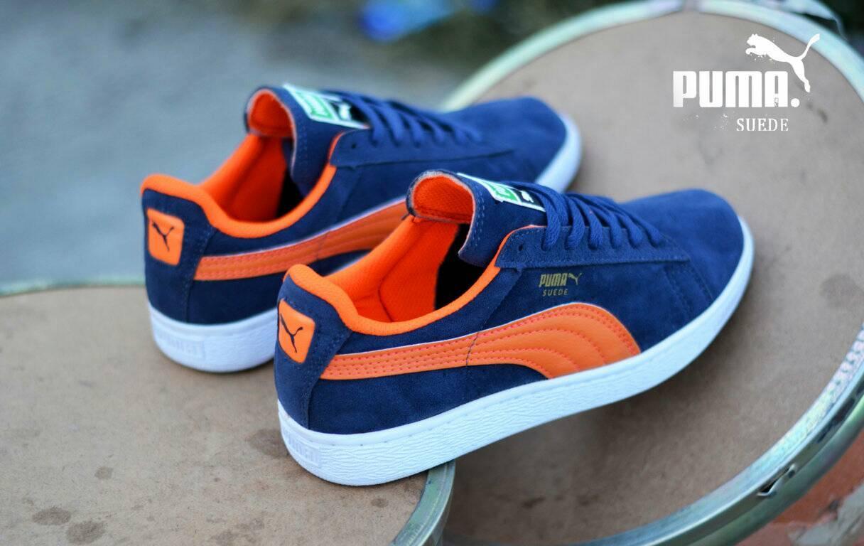Sepatu Pria Puma Suede Biru Navy List Orange Terlaris Di LAZADA