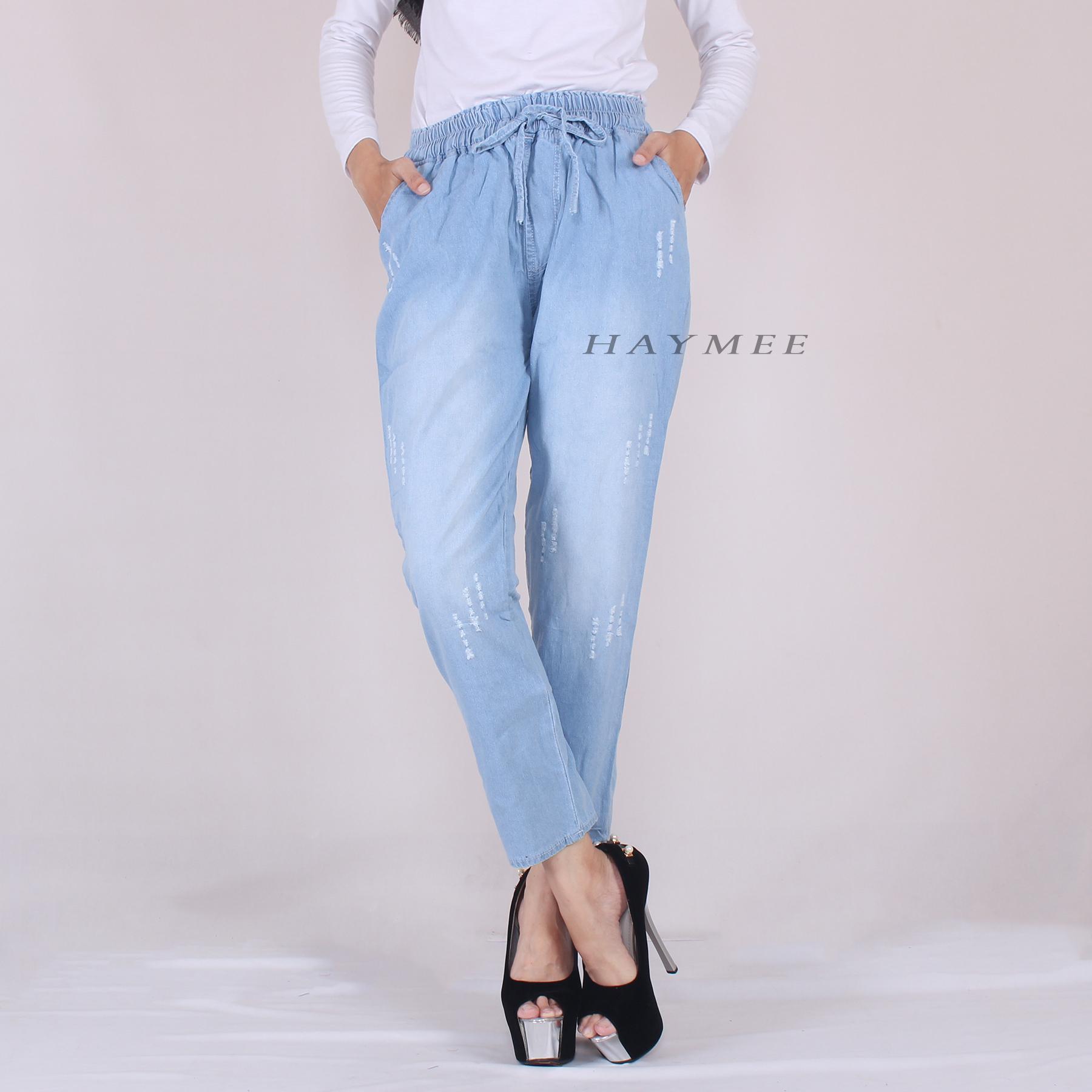 Haymeestore Celana Boyfriend Jeans Wanita Motif Sobek Celana Denim Cewek Bawahan Jeans Blue