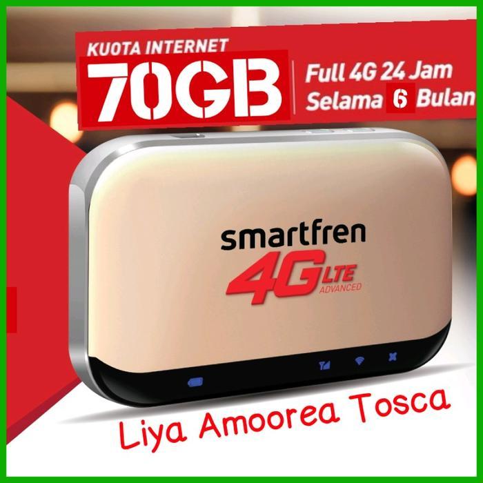Promo: Mifi 4G Router Modem Wifi 4G Smartfren 4G Andromax M5 Free Kuota 70Gb - Emas - ready stock