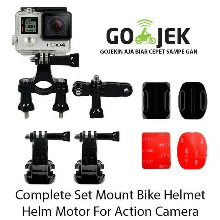 Baru!!! Mount Helmet Action Cam Lengkap For Gopro, Brica B-Pro, Xiaomi, Etc - ready stock