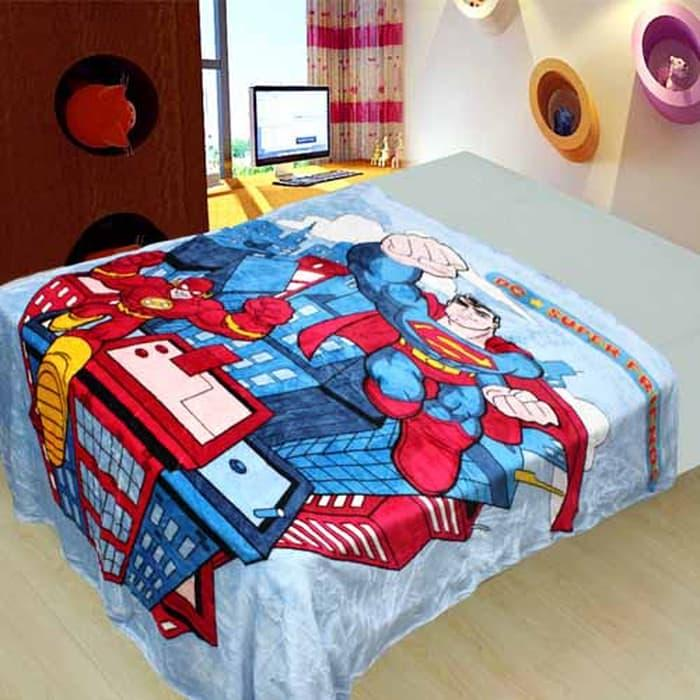 Selimut Anak 150x200cm - Superman DC ||| selimut bed cover bayi dewasa karakter bulu tebal bonita a