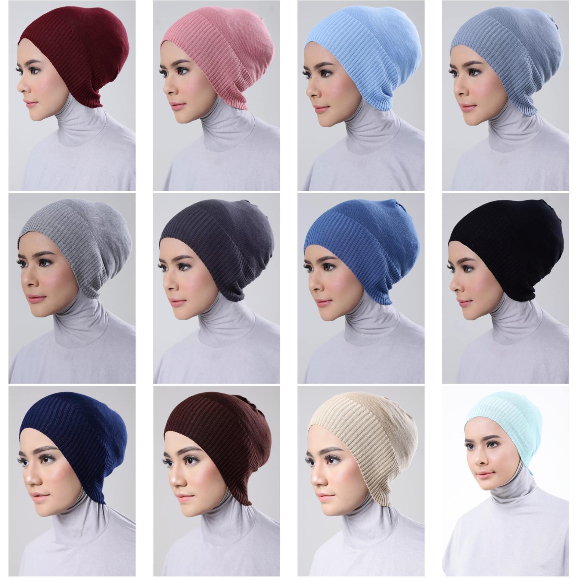Inner Hijab ciput rajut anti pusing _ Isi 6Pcs (bebas pilih warna). + FREE 1 Pcs