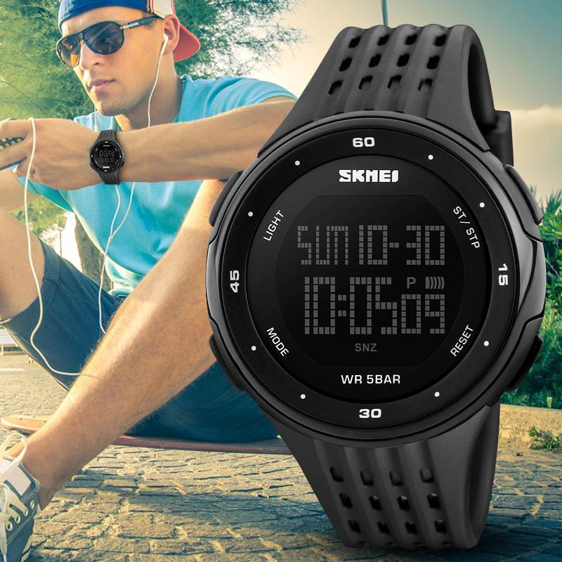 SKMEI Asli Hot Olahraga Merek Digital Watch Pria dan Wanita Olahraga Perhiasan Chronograph Mode Watch PU Waterproof Relogio Masculino