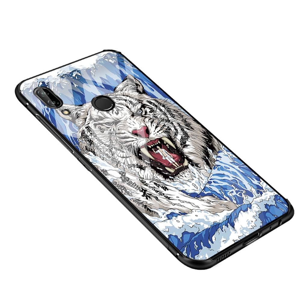 Huawei P20 Lite Kasus, RUILEAN Hybrid Shockproof TPU Bumper + Tempered Glass Back Back Pattern Series Case Cover for Huawei P20 Lite / Nova 3E (As Shown)