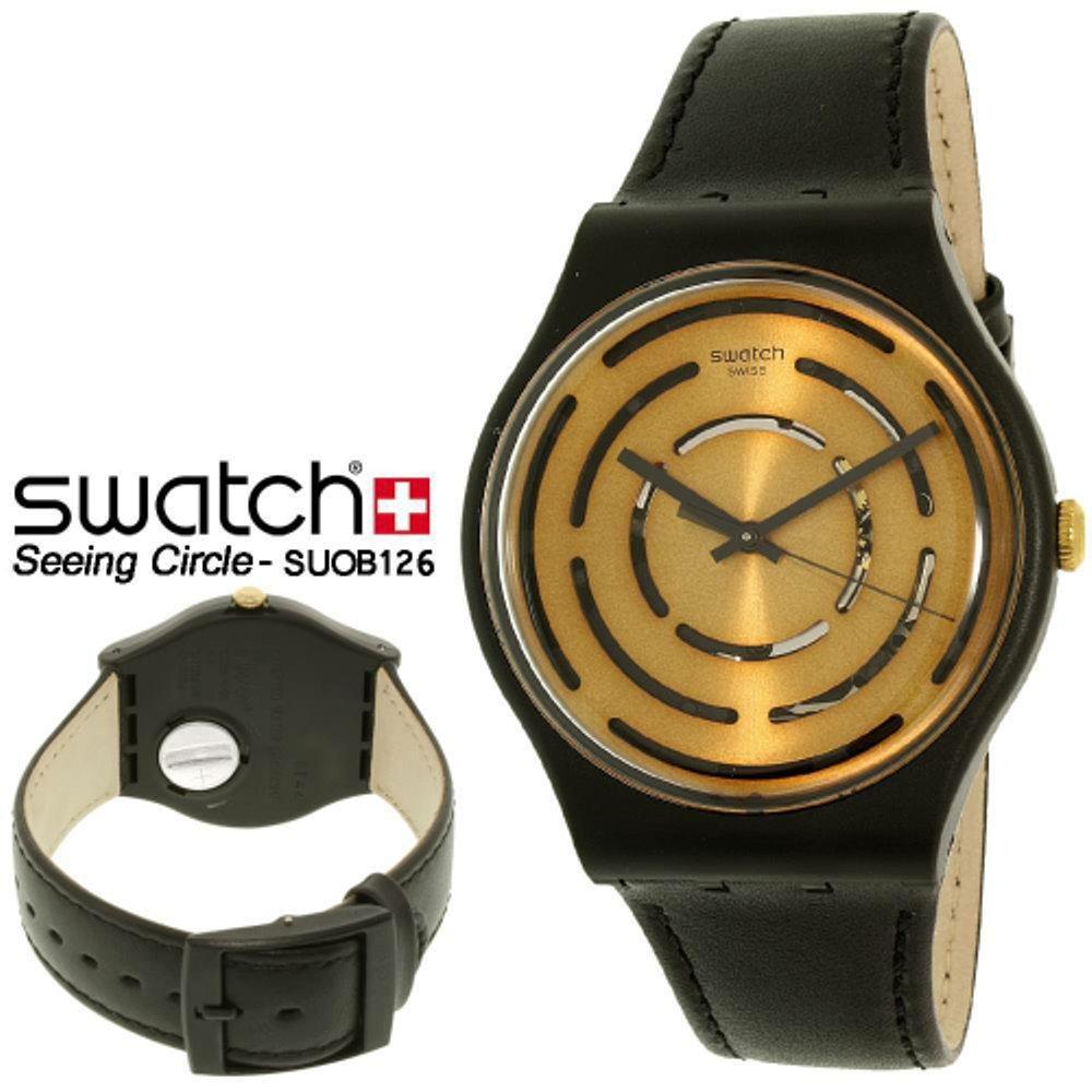 SWATCH SUOB126 - SEEING CIRCLES - Analog - Jam Tangan Unisex - Bahan Tali Leather -