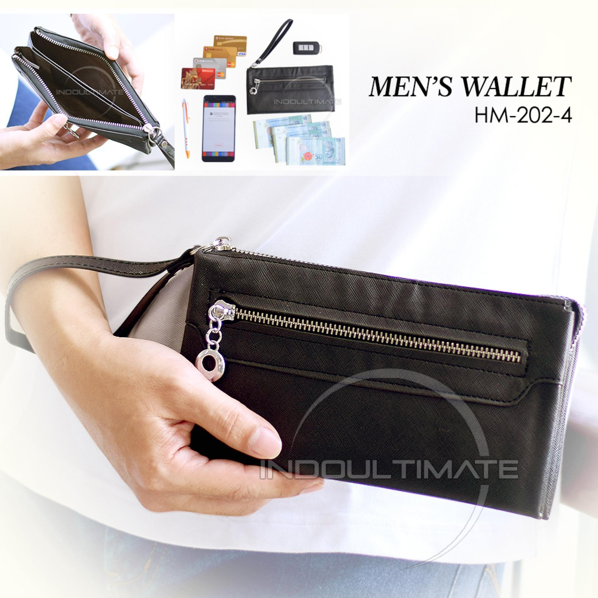 Ultimate Dompet Pria / Wanita HM-202-4 - Black / Dompet Cowok / Cewek Kartu ATM HP Panjang Kulit Import Murah Lucu