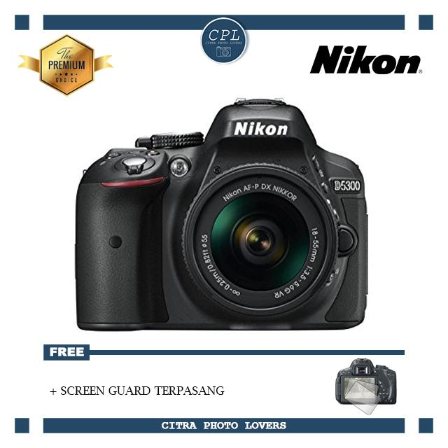 NIKON D5300 + AF-P DX NIKKOR 18-55mm f/3.5-5.6G VR Kit Lens WiFi - (Free Screenguard Terpasang)