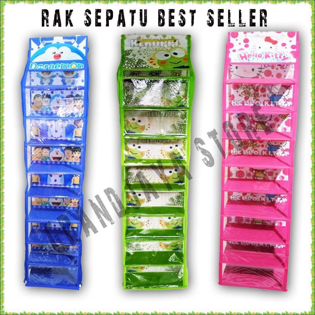 Rak Gantung Brand Set Tas Sepatu Hijab Sleting Hanging Shoes Organizer Hso 9 Tingkat