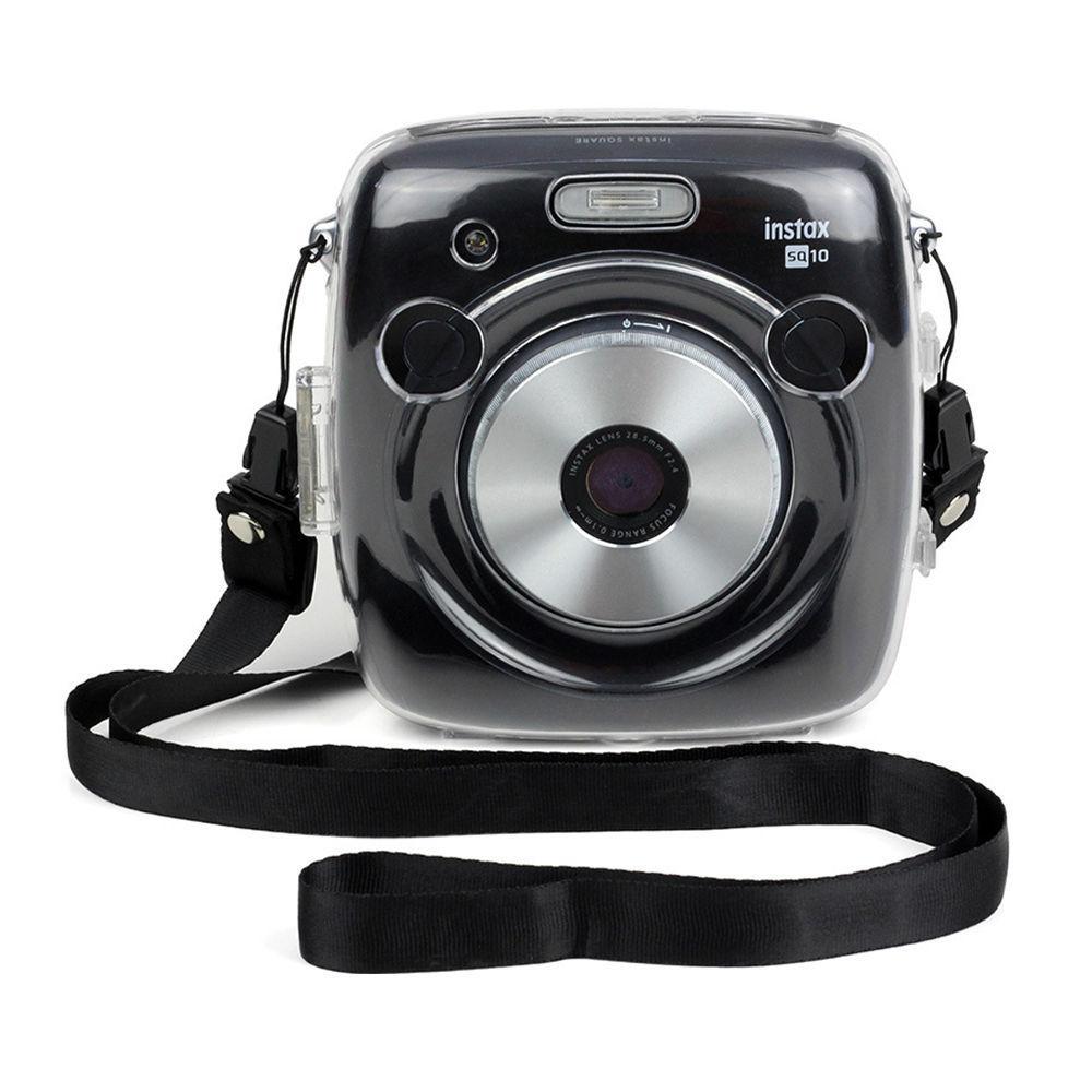 Untuk Fujifilm SQUARE SQ10 SQ 10 HYBRID Film Kamera Transparan Batal Hard Case Cover Bag Protector + Strap