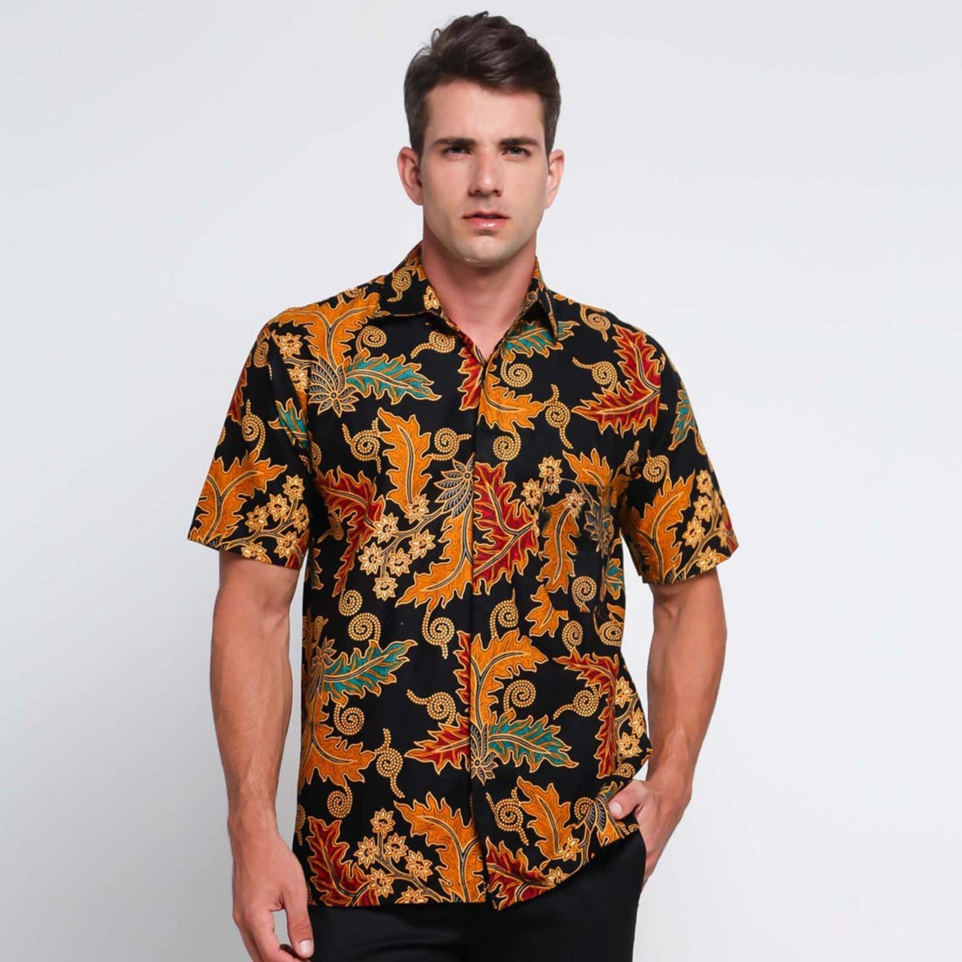Batik Distro K8150 Kemeja Pria Motif Batik Daun - Coklat
