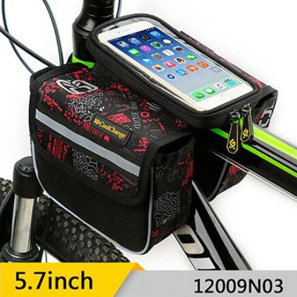 CoolChange Tas Sepeda Double Bag Smartphone 5.7 Inch - 12009N - Black/Silver