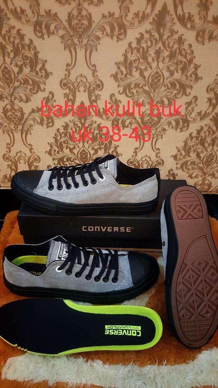CONVERSE ALL STAR LEATHER KULIT SNEAKERS UNISEX GREY BLACK LOW     Sepatu  Pria   Sepatu 95db712a95