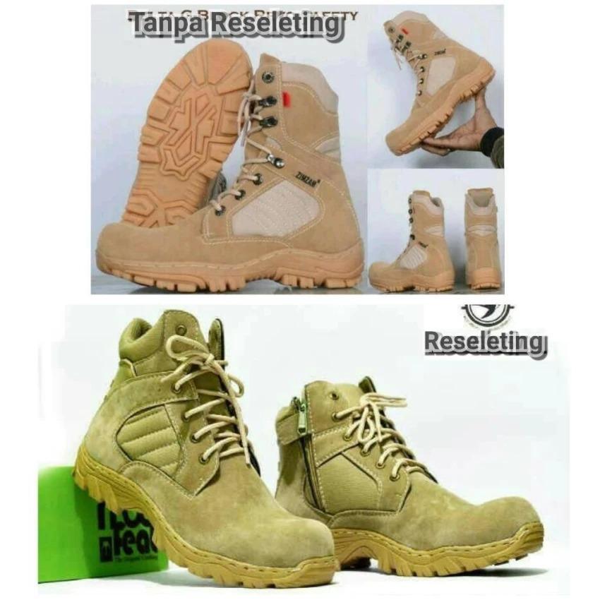 Sepatu Tracking Gunung Zimzam Delta Tan Dan Moofeat Reseleting Cream Boots Safety Ujung Besi