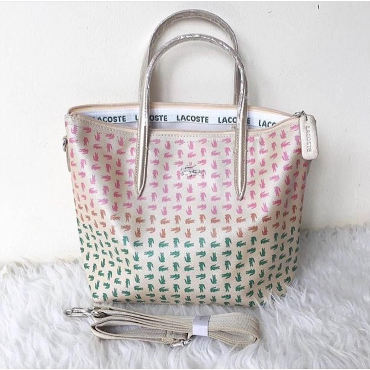 Tas Tote Bag Wanita Terbaru Lacoste Zip Basic Special Colours Supplier Murah Import Selempang Batam Lcos Sling Ombre
