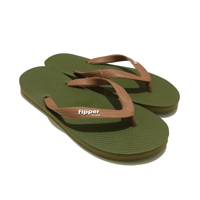 Promo: Sandal Fipper Cowok Slick Green Army Brown - ready stock