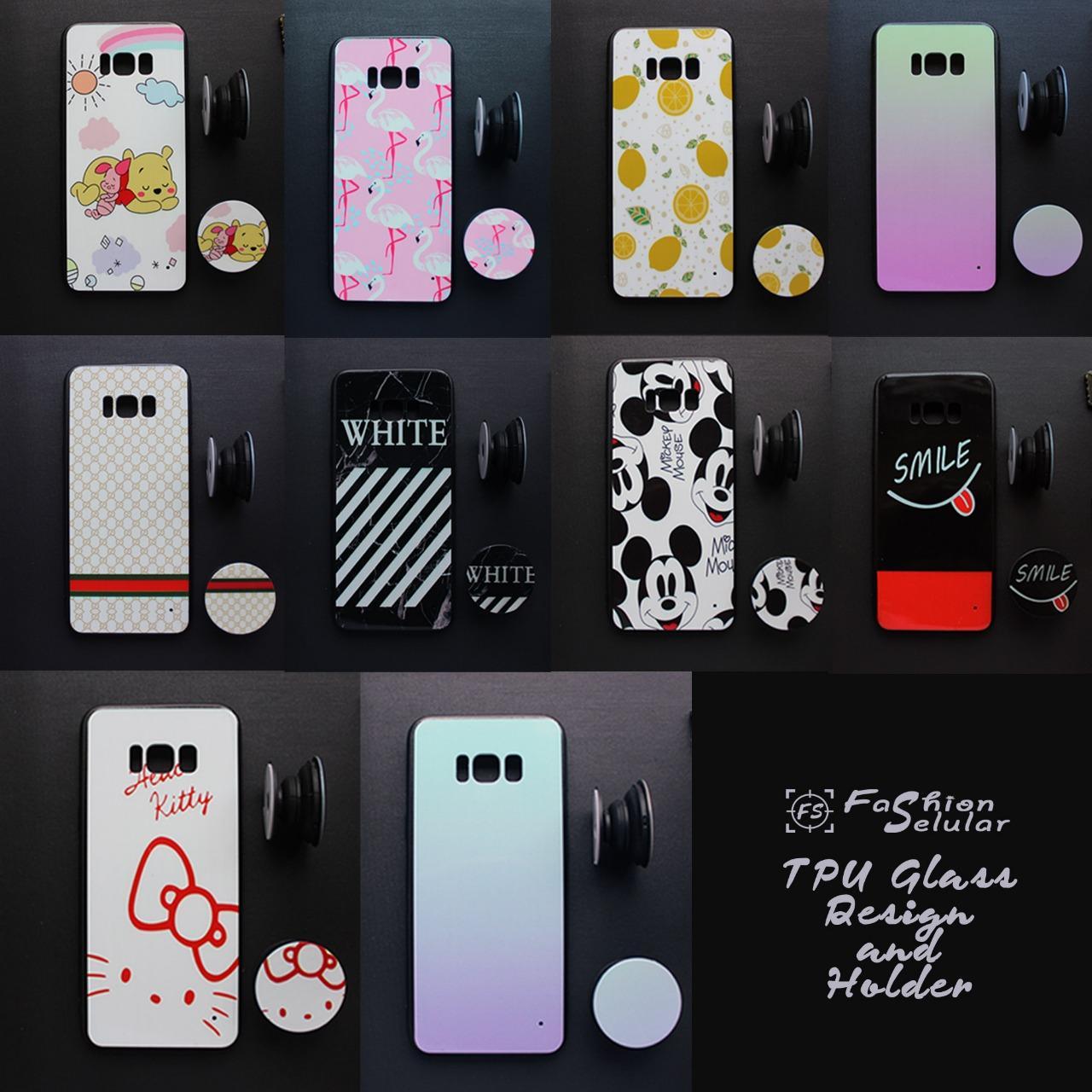 Casing Samsung Galaxy J1 Ace Case Fuze GLass Design + Pop Socket - IMS - Random