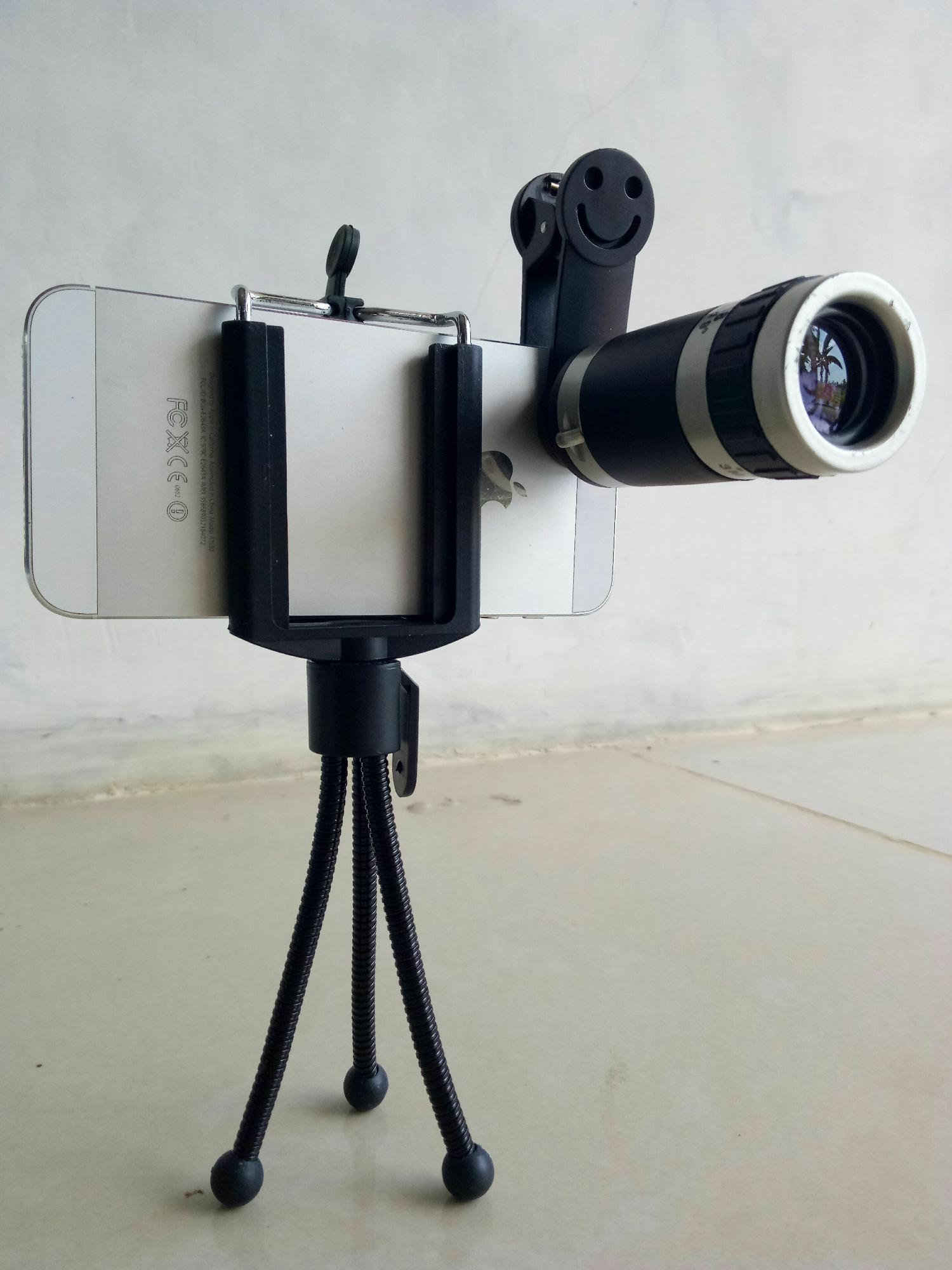 Lensa Telezoom HP Smartphone / Lens Kamera Tele Zoom / Camera Telescope / Scope Android Iphone / Zom 8X / Telezom 8 X - Free Holder + Tripod