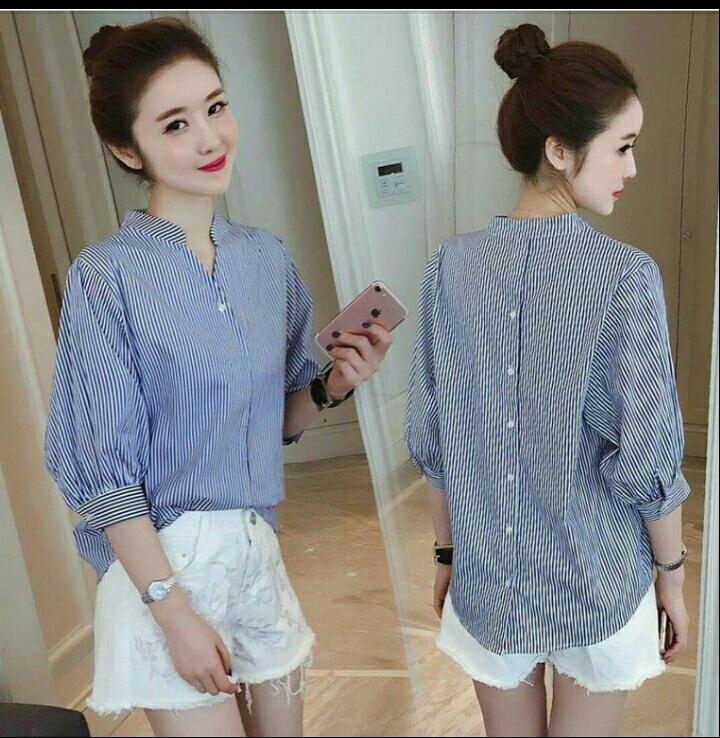 UC sanghai stripe Blouse Lengan pendek / Blouse Kotak Polos Cewek / Hem Kemeja Baju Wanita Fashion Bangkok / Blus Korean Style / Blouse Wanita Modern / blus wanita terbaru NR (nghaisa)- Biru