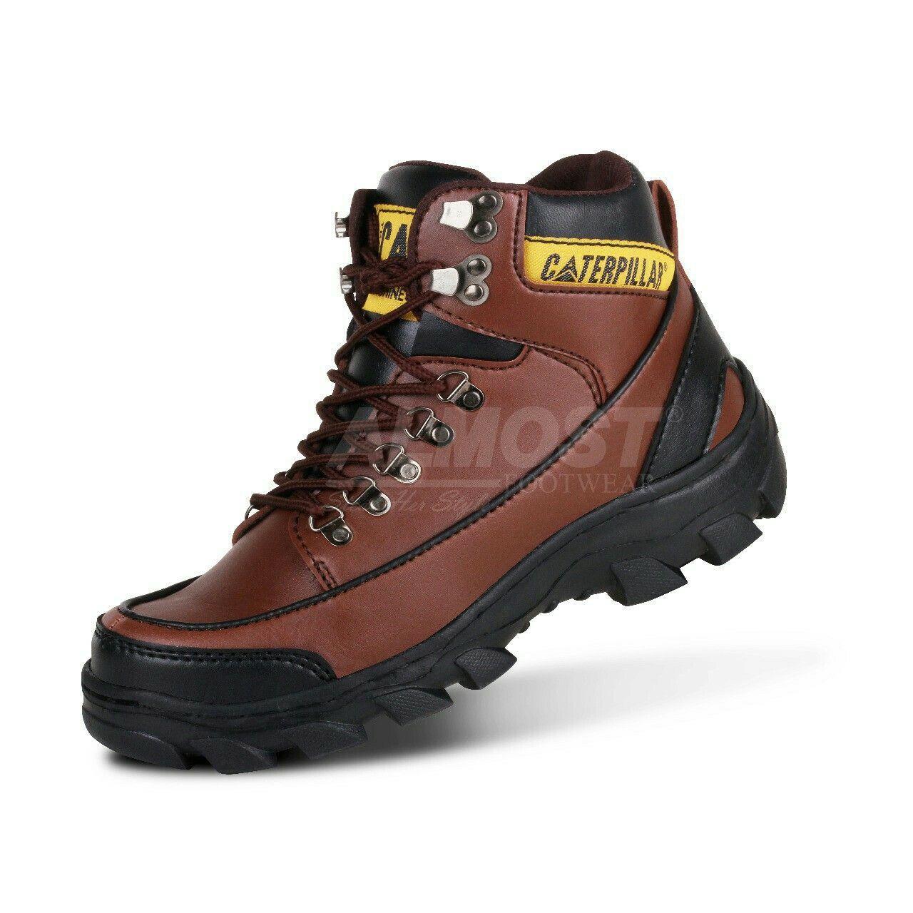 Sepatu Boots Safety ujung besi original bandung cibaduyut crocodile kickers almost catterpilar Tan cream abu